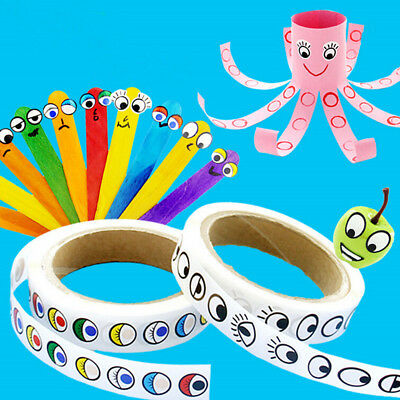 Self-adhesive Paper Eyes Stickers Rolls Black Colors Children Handmade Craft 3C