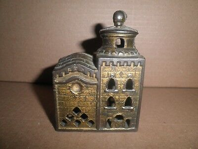 Great old original cast iron 3 Story Mosque still penny bank c.1920's