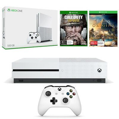 Xbox One S 500GB + Call of Duty WWII + Assassin's Creed Origins Bundle NEW