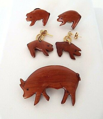 5 Piece Estate Lot Hand Crafted Signed Pig Jewelry Pins Dangle Pierced Earrings