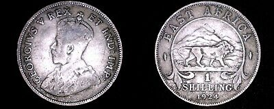 1924 East African Shilling World Silver Coin - British Admin East Africa Lion