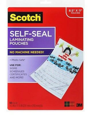 Scotch Self-Sealing Laminating Pouches LS854-10G, Gloss Finish, Letter Size 10ct