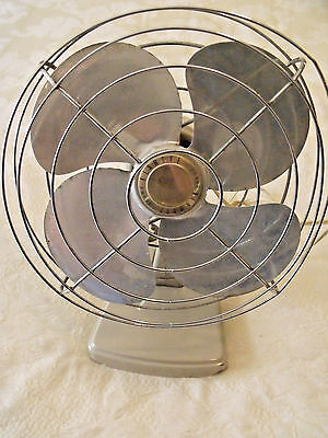 Vtg  Desk Top Oscillating Fan Retro Farmhouse Steampunk Kenmore Electric Beige