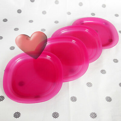 NEW Tupperware 4 x Square Round Plates in Pink Microwave reheatable