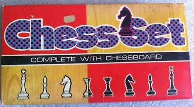 Vintage  Plastic Chess Set In Original Box made in hong kong board missing