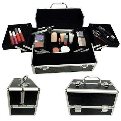 black professional handle Makeup Cosmetic Storage Train Case Box Trays Aluminum