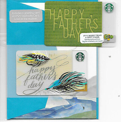 """NEW STARBUCKS Gift Card Lot (2) """"HAPPY FATHER'S DAY 2016 SET"""" -Mint / No $ Value"""