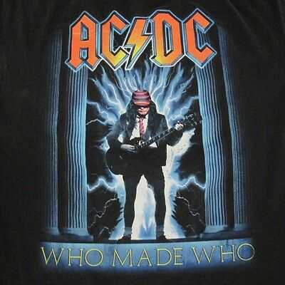 Vintage Original Rock Tee Ac/dc Acdc Who Made Who Black Size Large