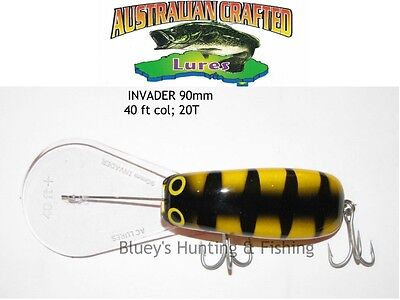 Australian Crafted Lures- cod 90mm invader yellow tiger col;20T  40ft a.c.lures