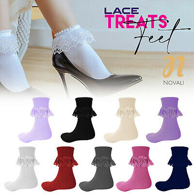 3 Pairs - Ladies Girls Frilly Lace Ankle Socks - Party Functions Frill Socks
