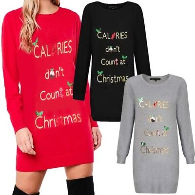 Heart And Soul Womens Christmas Calories Tunic Jumper Ladies Festive Sequin Top