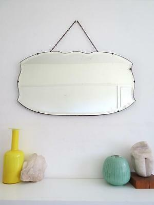 Vintage Art Deco Large Frameless Wall Mirror Bevelled Edge Overmantle with Chain