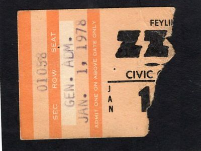 1978 ZZ Top Muddy Waters Concert Ticket Stub Worldwide Texas Tour