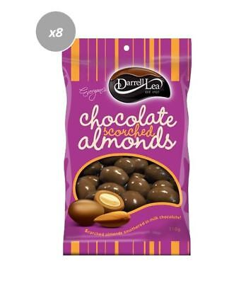 901907 8 x 110g BAGS OF DARRELL LEA MILK CHOCOLATE COATED SCORCHED ALMONDS