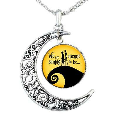 Nightmare Before Christmas Skellington Glass Moon Shaped Silver Plated Necklaces
