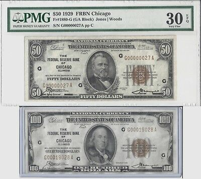 1929 $50 $100 National Currency Note Set Chicago Low Ser #00000027 High Grade!