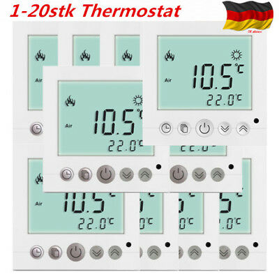 1 20x digital thermostat fu bodenheizung temperaturregler programmierbar wei de eur 8 99. Black Bedroom Furniture Sets. Home Design Ideas