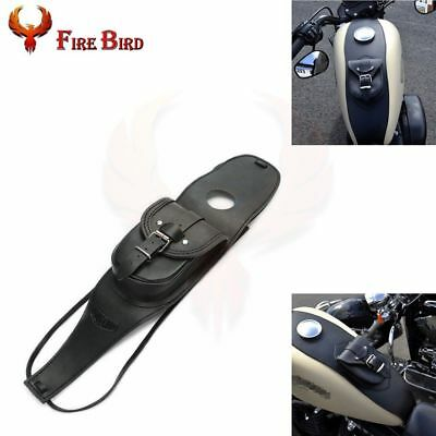 Motorcycle Leather Tank Cover Panel Pad Bib Bra With Pouch For Harley XL883 1200