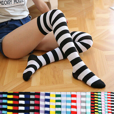 Women Colorful Stripe Over Knee High Socks Stockings Party Red White Christmas
