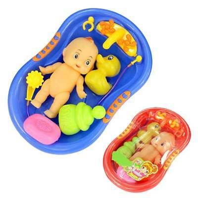 Baby Doll in Bath Tub with Duck and Shower Accessories Set Kids Pretend Play Toy