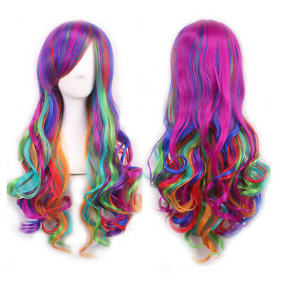 Rainbow Long Mixed Multi Color Fashion Women Cosplay Fancy Party Curly Hair Wig