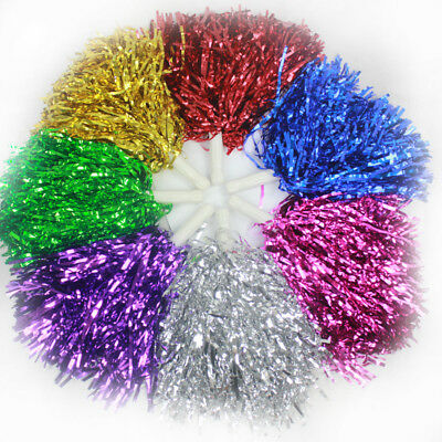 2pcs Metallic Cheerleader Pom Poms Colourful Cheer Dance Party Accessory Kids Fu