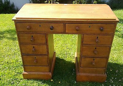 lovely antique 19th,early 20th century slope top light oak desk ceramic ink well