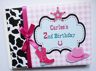 Personalised Cowgirl Theme Birthday Guest Book - Any Design