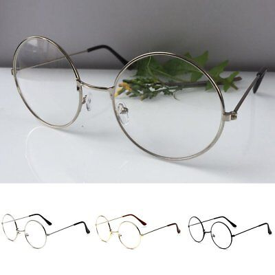 Women Men Vintage Large Metal Frame Clear Lens Round Circle Eye Glasses Nerd