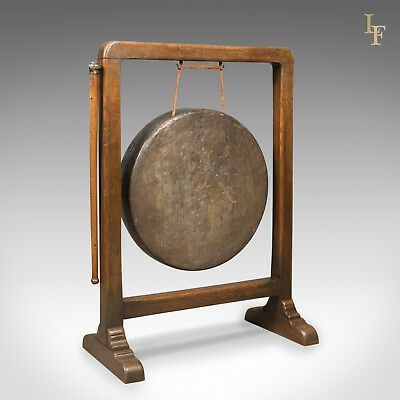 Large Victorian Dinner Gong with Beater in English Oak Frame, c.1870