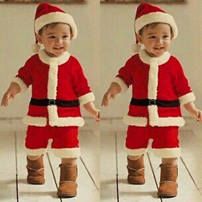 Toddler Kids Baby Girl Boy Christmas Party Clothes Costume Tops+Pants+Hat Outfit