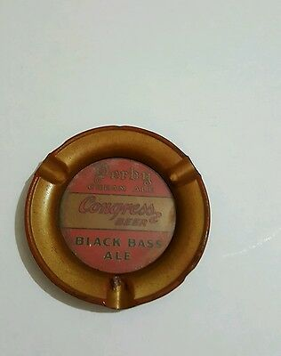 Congress Beer Derby Ale Black Bass Ale Ashtray  4 1/2 ins