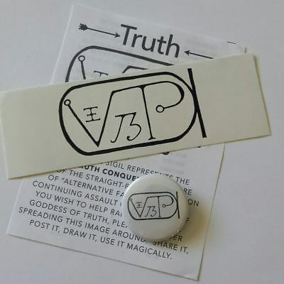 Truth Conquers Magical Sigil Button Badge Sticker Talisman Pack