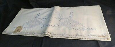 Pair of Vintage 1940s-50s Hand-Made Linen Embroidered Pillow Cases, Unused 23x36