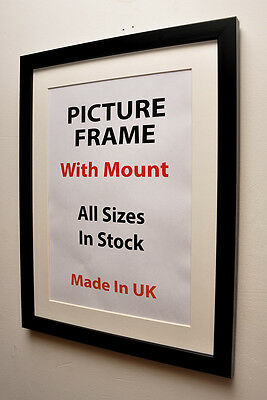 Thin Black Picture Frame with Mount Choice of Ivory Black or White Mount Framing