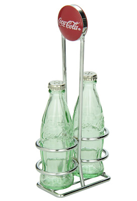 Coca Cola Salt and Pepper Shakers Small Glass Chrome Plated Rack Bottle Set New
