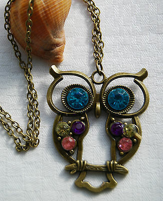Retro vintage style antique bronze look necklace lovely large lucky owl crystals