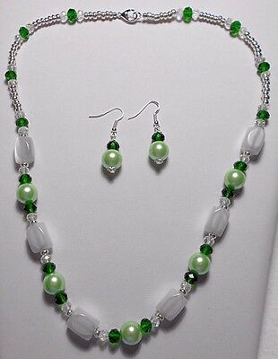 """Necklace + earrings, cats-eye beads, white + green 22.5"""""""