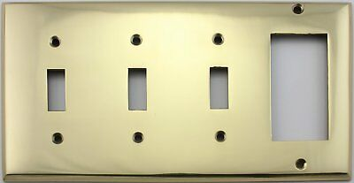 Polished Brass Four Gang Switch Plate - Three Toggle Light Switch Openings One