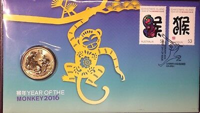 2016 PNC Australia/Christmas Island YEAR OF THE MONKEY $1 Coin, Limited Edition