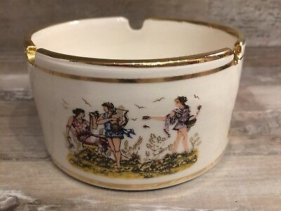 Vintage Finest China Greece  24 Carat Gold Ash-pot Ashtray. Handmade.