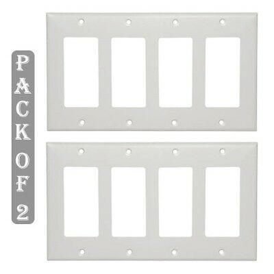 2x 4 Gang Blank Wall Plate Faceplate Cover Smooth Decora Wallplate Switch White