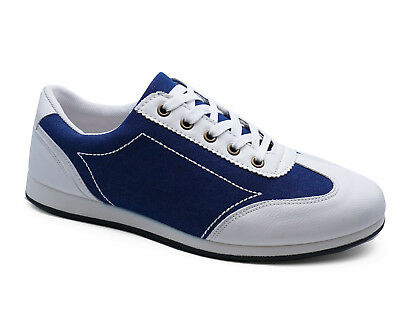 Mens White Lace-Up Comfy Pumps Trainers Smart Bowling Style Shoes Sizes 6-11