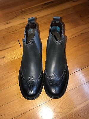 Clarks Black Mens Ankle Boots Size 7 premium w/leather traditional brogue detail