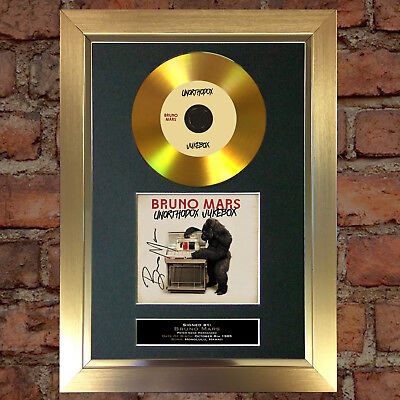 GOLD DISC BRUNO MARS Signed CD Mounted Repro Autograph Print A4 125
