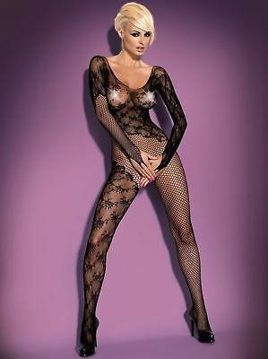 Intriguing Sexy Black Fishnet Elastic Soft Bodystocking Catsuit Obsessive F210