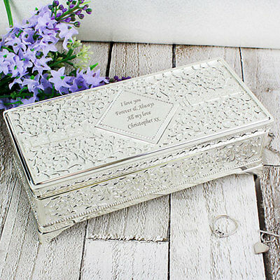 Personalised Antique Engraved Silver Plated Vintage Jewellery Box Gift for Her