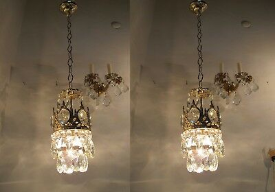 A Pair of Antique Vintage Basket Style Mini Chandelier lamp 1940s 5,2 in dmtr