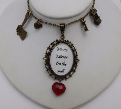 Mirror, Mirror On the wall Snow White evil queen necklace with glass heart