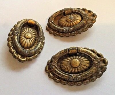 Lot of 3 Brass Finish Drawer Pull Handle Knob Oval USED Ornate Antique Vintage